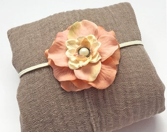 Taupe Newborn Cheesecloth Wrap and Tea Rose Peach Headband - Neutral Color Newborn Photo Prop, Photography Prop Baby Shower Gift