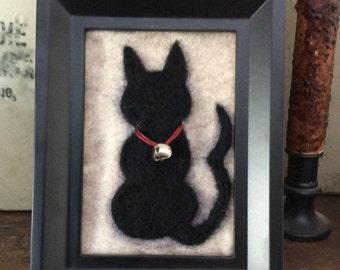 Needle Felted Black Cat Silhouette Framed Art