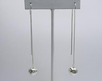 Handmade Long Silver Dangle Earrings, Silver Ball Earrings, Really Long Earrings, Ear Threads, Organic Silver Earrings, Hollow Silver Beads