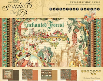 """NEW!! Graphic 45 """"Enchanted Forest"""" 8x8 Paper Pad PRE-ORDER"""
