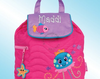 Quilted Backpack - Personalized and Embroidered - JELLYFISH