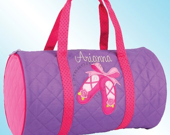 Quilted Duffle Bag - Personalized and Embroidered - BALLET SHOES