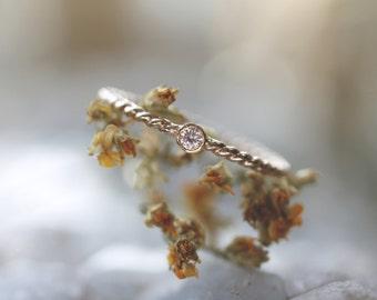 Golden Rope Star | birthstone gemstone ring. 14kt gold filled & 18kt gold . one stack ring . birthstone
