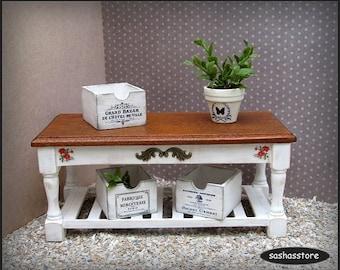 Shabby farmhouse kitchen table - 12th scale dollhouse miniature