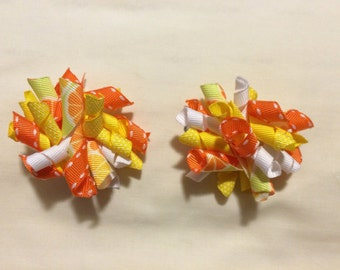 Orange, yellow & white- 2 inch korker bows