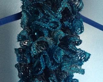 Hand knit Ruffle Scarf