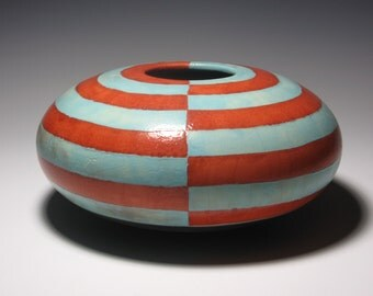 Art For Home Office Hotel Foyer Coffee Table Hearth Floor Raku Orb Globe Vase Blue Red Striped Pattern Design Ceramic Pottery