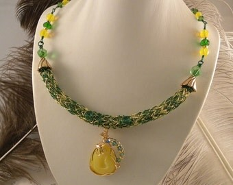 Oregon Ducks UofO Adjustable Viking Knit Necklace with Yellow Druzy Pendant