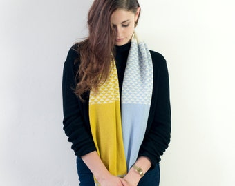 Knitted lambswool snood - circle scarf geometric triangle design, knitted in the UK in yellow, blue and cream - 100% wool