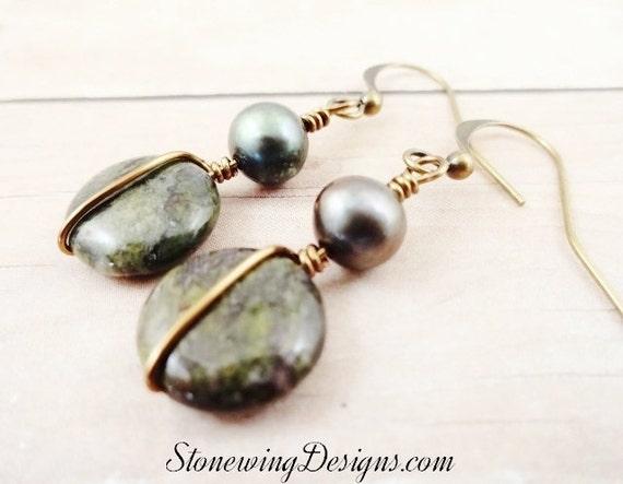 Dragon's Blood Earrings, Boho Earrings, Rustic Boho Jewelry, Antique Brass Earrings, Gemstone and Pearl Earrings, Green Stone Jewelry