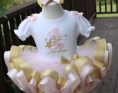 baby girls 1st birthday tutu set in light pink and gold.....twinkle twinkle little star or shooting star birthday....or aqua and silver set