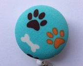 Paws Badge Reel - Dog Badge Holder - Retractable Badge Reel - Dog Paws - ID Name Badge - Veterinarian Gift - Nurse Gift - Fabric Badge Reel