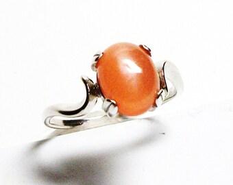 "Peach moonstone cabochon, moonstone ring, solitaire ring, peach, peach ring, s 5 1/2  ""Mango Tango"""