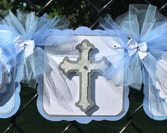 God Bless banner, baptism banner, name banner, Christening banner, photo prop, table banner, blue and white decor, boy baptism banner