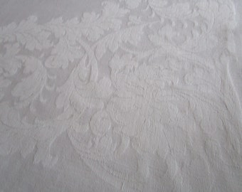 Vintage French White Damask Tablecloth Acanthus Leaves Fine Dining Christening Wedding 48 x 62 Inches