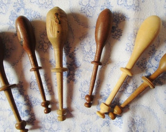 6 Vintage French Handmade Wooden Lace Bobbins Lace Making Hand Turned Treen