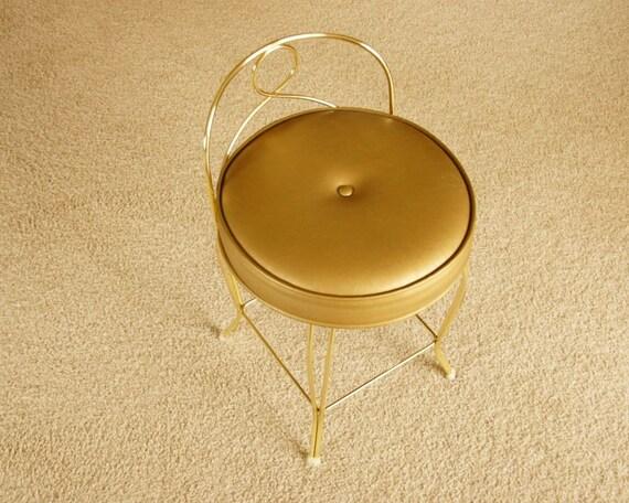 Gold Vanity Seat, Hollywood Regency Stool