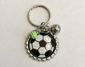 Soccer Bottlecap Keychain with Soccer Ball Charm and a Green and White Stripe Bead