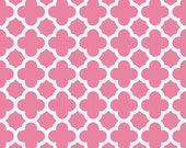 STORE CLOSING Sale Riley Blake Medium Quatrefoil Hot Pink 1 yard