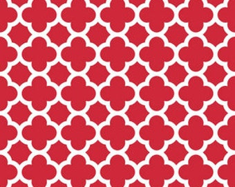 STORE CLOSING Sale Riley Blake Medium Quatrefoil Red 1 yard