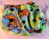 SassyCloth one size pocket diaper with Scooby Doo cotton print. Ready to ship.