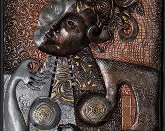 A Woman's Contemplation: Bronze Narrative Sculpture