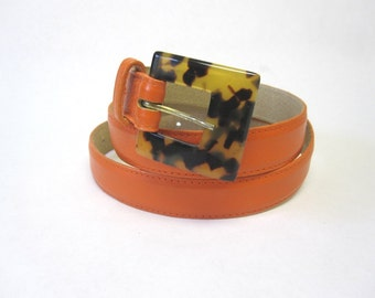 Skinny Orange Belt With Leopard Buckle Size Large
