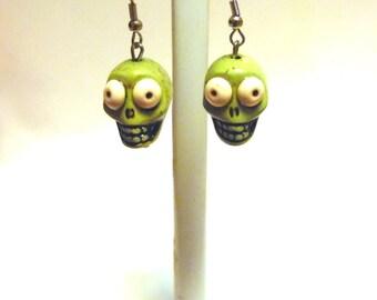 Zombie Green Skull Earrings Day Of The Dead Jewelry