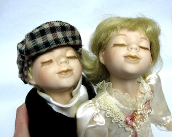 Kissy Face Porcelain Dolls Vintage Victorian Style Twin Boy Girl Dolls