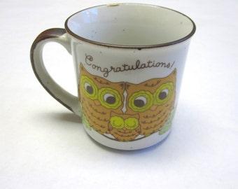 Coffee Cup Mug Owl 70's Congratulations Baby