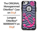 iPhone OtterBox Commuter Case for iPhone 6/6s, 6 Plus/6s Plus, 5/5s, 5c, 4/4s, Galaxy S6 S5 S4 Note 5 4 Monogrammed Anchor Sea Phone Case