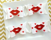 Wool felt glitter hairbows - wool felt red heart dot and red glitter -Ready to ship - red and white felt - red glitter hairbow