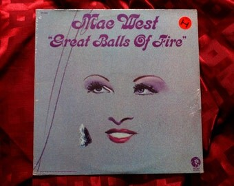 Mae West Great Balls Of Fire LP 1972 vinyl album Sealed MGM Records vintage Ian Whitcomb Rock & Roll Pop NM