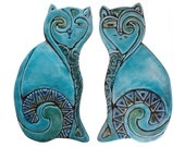 Cat wall hangings // Ceramic cats // Cat Wall decor // Wall art // Pair of cats-plain // 26cm // Turquoise
