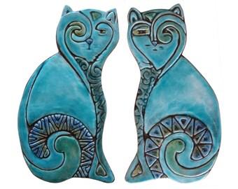 Cat wall hangings // Ceramic cats // Cat Wall decor // Wall art // Pair of cats-plain // 26cm // Turquoise