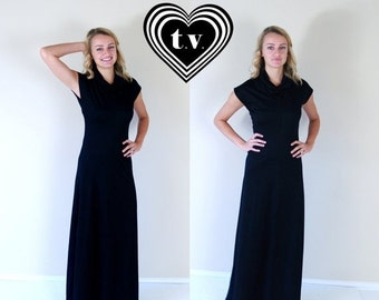 vtg 70s black COWL NECK disco Maxi DRESS Small retro boho hippie gown