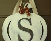 Pumpkin letter wreath S Fall Door Hanger -READY TO SHIP