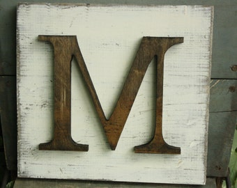Wood Hanging block letter- CHOOSE letter- Shabby chic white and natural