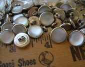 """Bulk 11MM Western Shirt Buttons White pearl snap Nickel Shank 7/16"""" Metal 18L Poly Nickel pearly inset sewing crafts cowboy 24 buttons"""