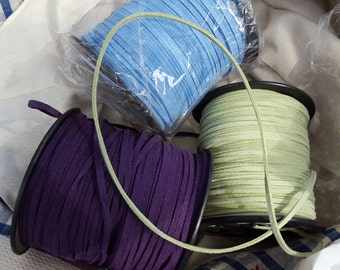 3mm Faux Suede Cord Vegan Leather 100 yds Wholesale Chamude String Purple Blue Green bracelet craft 1.4MMx3MM Eco Boho whole spool Overstock