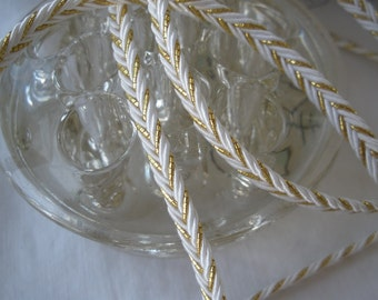 "Chevron Gimp Braid Gold Metallic & Ivory Braided Flat Cord 5MM 3/16"" Mixed Media 3 yards yardage jewelry bolo tie tie home decor weddings"