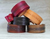 Boho Belt Strap-Vintage Hand Tooled Leather Snap on Western Belt Strap (size small/ medium)
