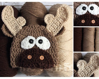Crochet Moose Hat - Newborn, Infant, Toddler Sizes