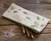 Natural Linen and Cotton Pencil Case with Hand Embroidered Leaves in Green, Nature Inspired School Supplies, Pen Holder