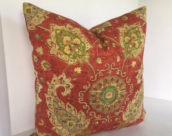 Decorative Pillow Cover in Richloom Cadogan Blend Persian and Coordinating Margarita Fabric