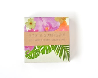 Tropical Coasters Plants Flowers Exotic Summer Colorful Botanical Ceramic Coasters