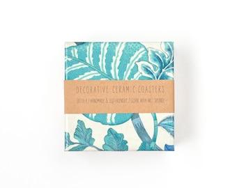 Ceramic Coasters Florida Blue Aqua Pastel Floral Boho Style Beverage Coasters