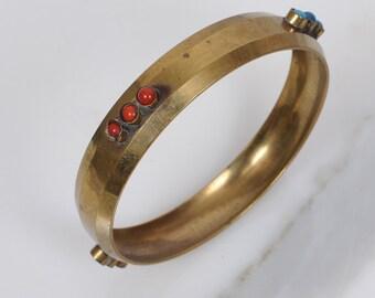 1970s bracelet/ 70s brass bangle