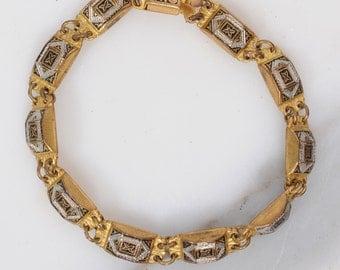 1940s bracelet/ 40s brass link bracelet