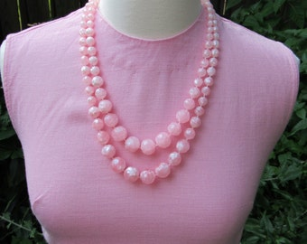 Pink 1960s Vintage Two Tier Graduated Beaded Statement Necklace / Two Strands of Cotton Candy Beads / 60s Mod Mad Men Style